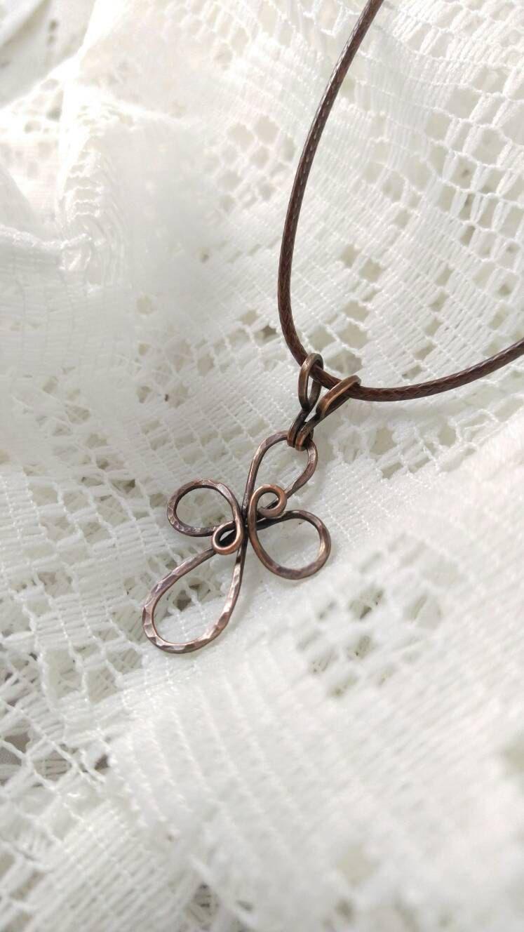 Wire Cross Necklace, Dainty Cross, Cross Pendant, Copper Wire Cross ...