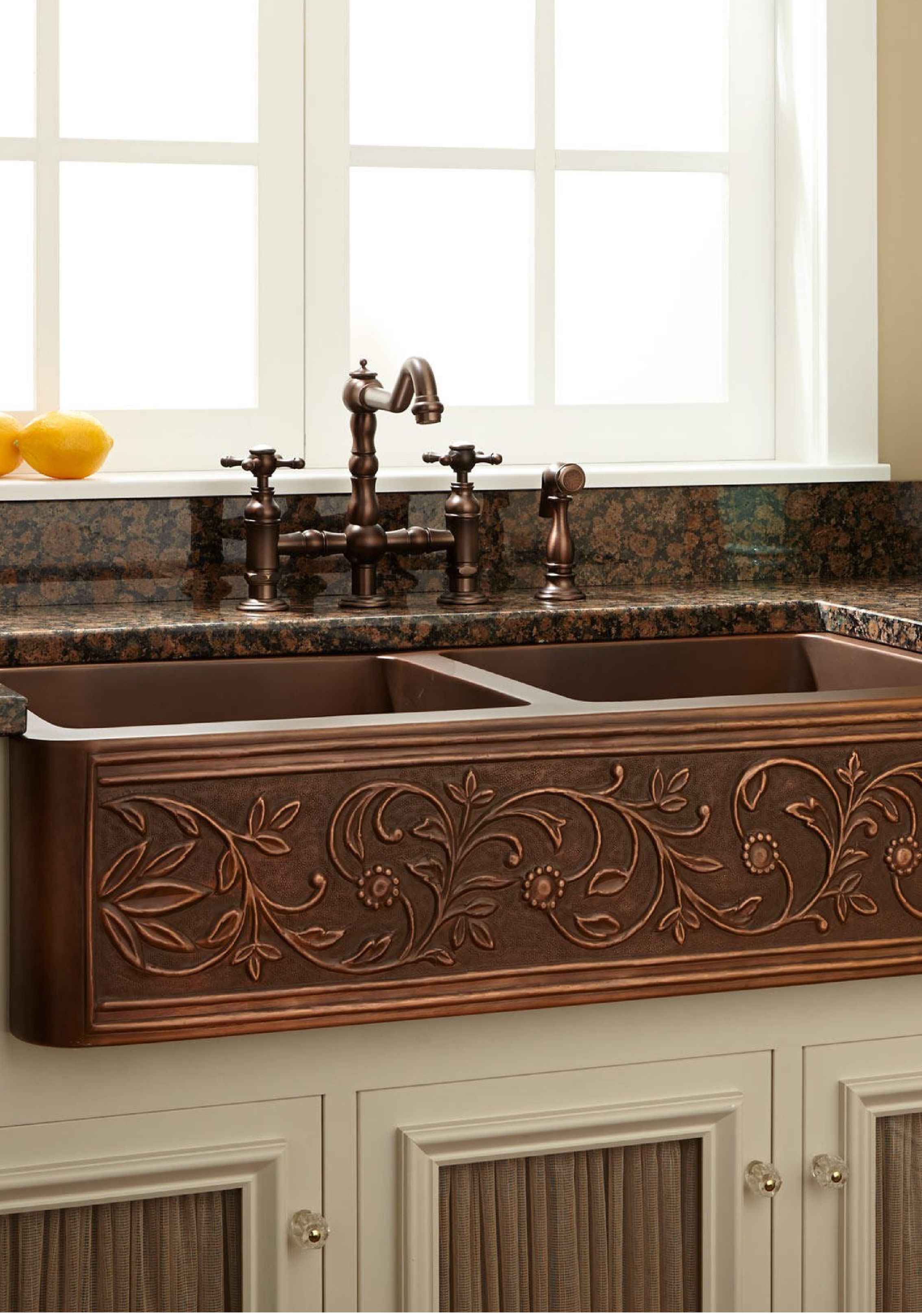 the striking flowering design of this copper farmhouse sink will rh pinterest com