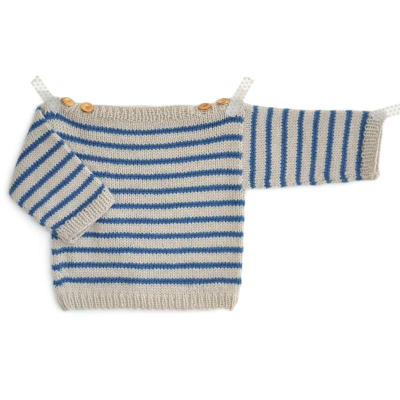 kit tricot b b facile marini re augustin du 3 mois au 2 ans a tricoter en laine ambiance de. Black Bedroom Furniture Sets. Home Design Ideas