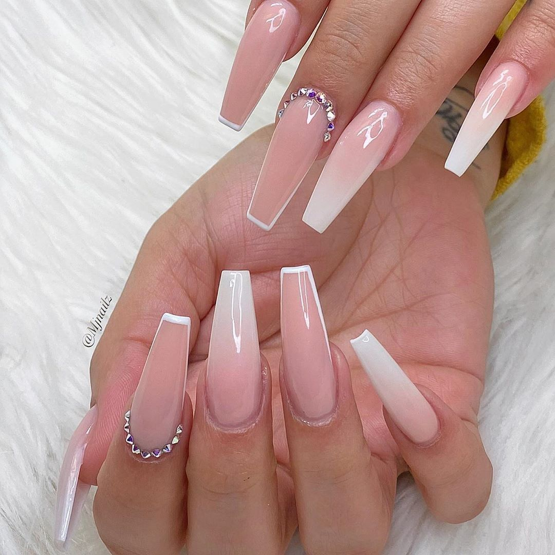 The Most Stylish Ideas For White Coffin Nails Design White Coffin Nails Ombre Acrylic Nails Nail Art Hacks