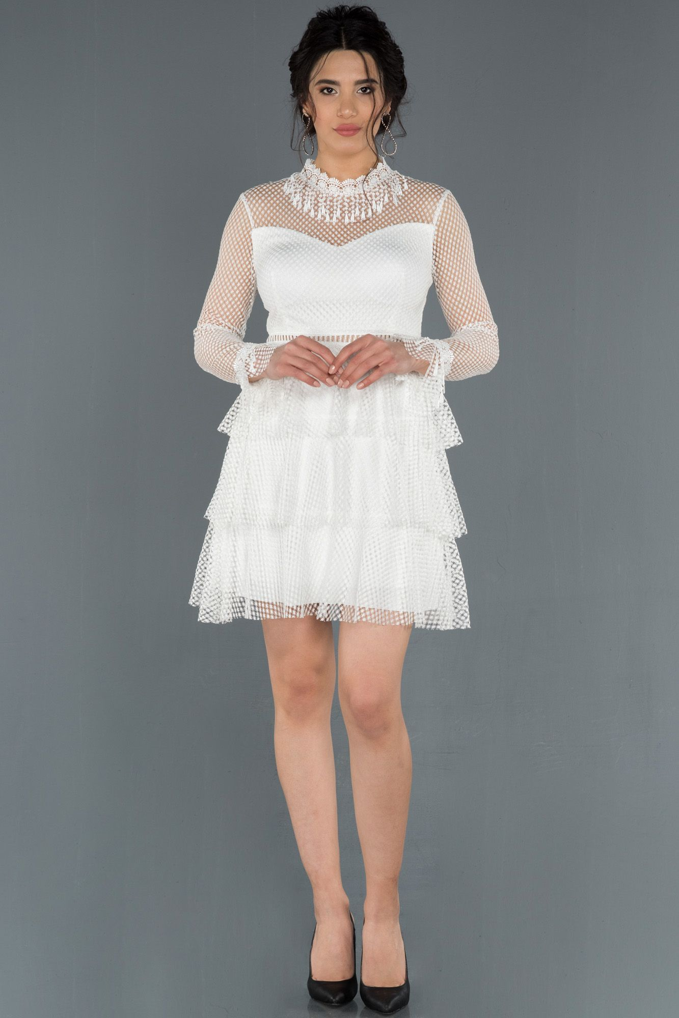 Ekru Kisa Gupurlu Mezuniyet Elbisesi Abk626 2020 The Dress Elbise Moda Stilleri