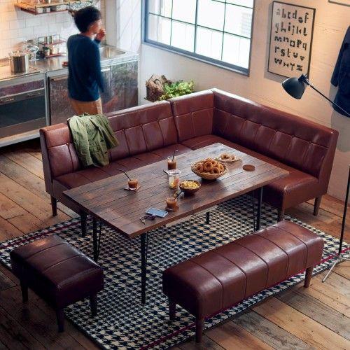 レトロなカフェを思わせるダイニングソファー リビングダイニング 10畳 ソファーダイニング インテリア 家具