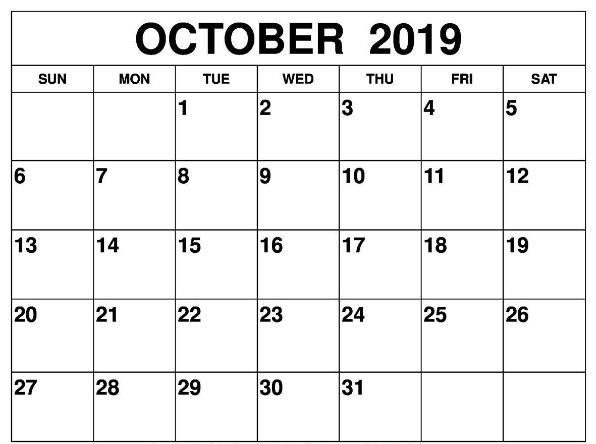 Best October 2019 Calendar Pdf Word Excel Template Printable