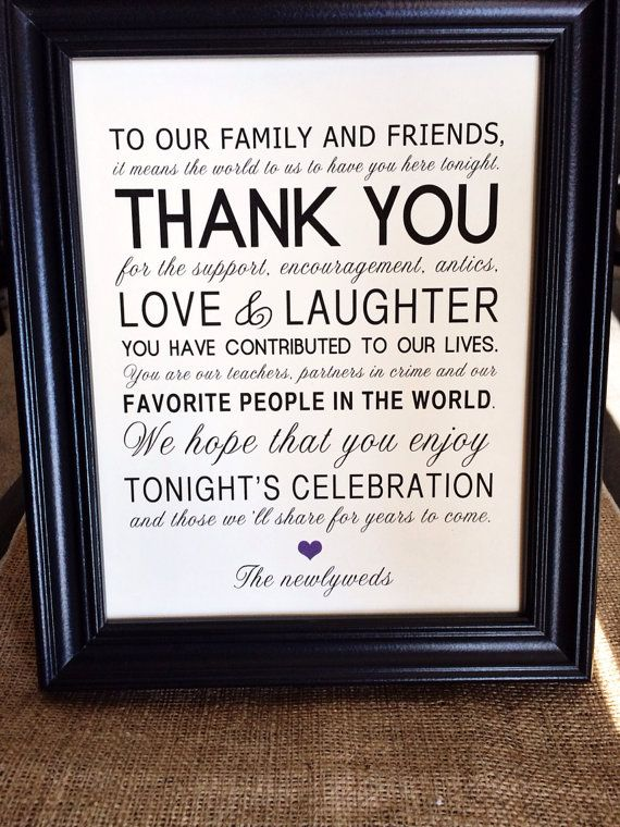 Thank You Wedding Reception Sign For Family And Friends