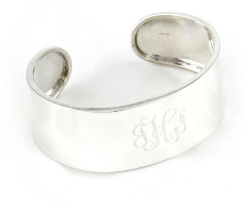 Engraved Sterling Silver Monogram Cuff Bracelet