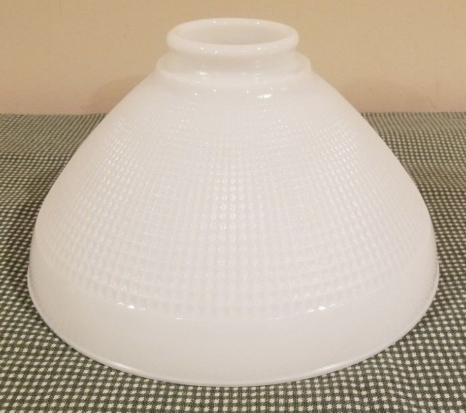 Vintage Corning 824160 White Milk Glass 10 Diffuser Torchiere Lamp Shade Waffle White Milk Glass Lamp Shade Torchiere Lamp Shade