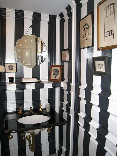 Black And White Striped Powder Room
