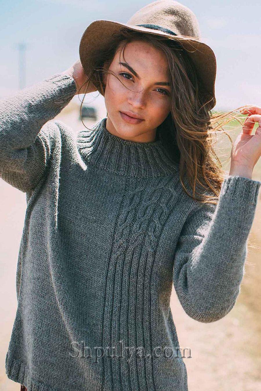 Пуловер резинкой и косами спицами, пуловер спицами ...
