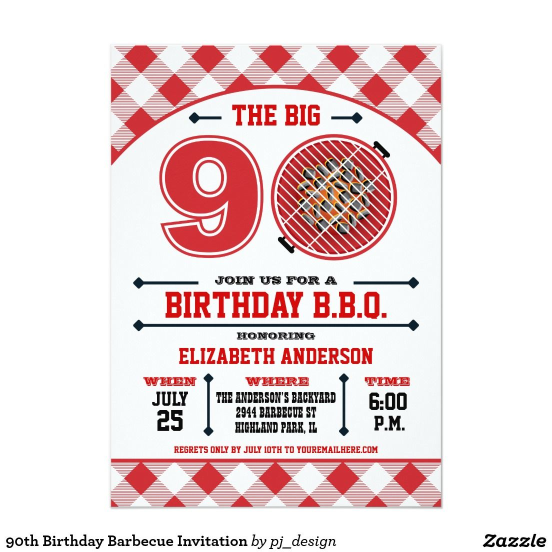 90th Birthday Barbecue Invitation | Daddy\'s 90th BD party ...