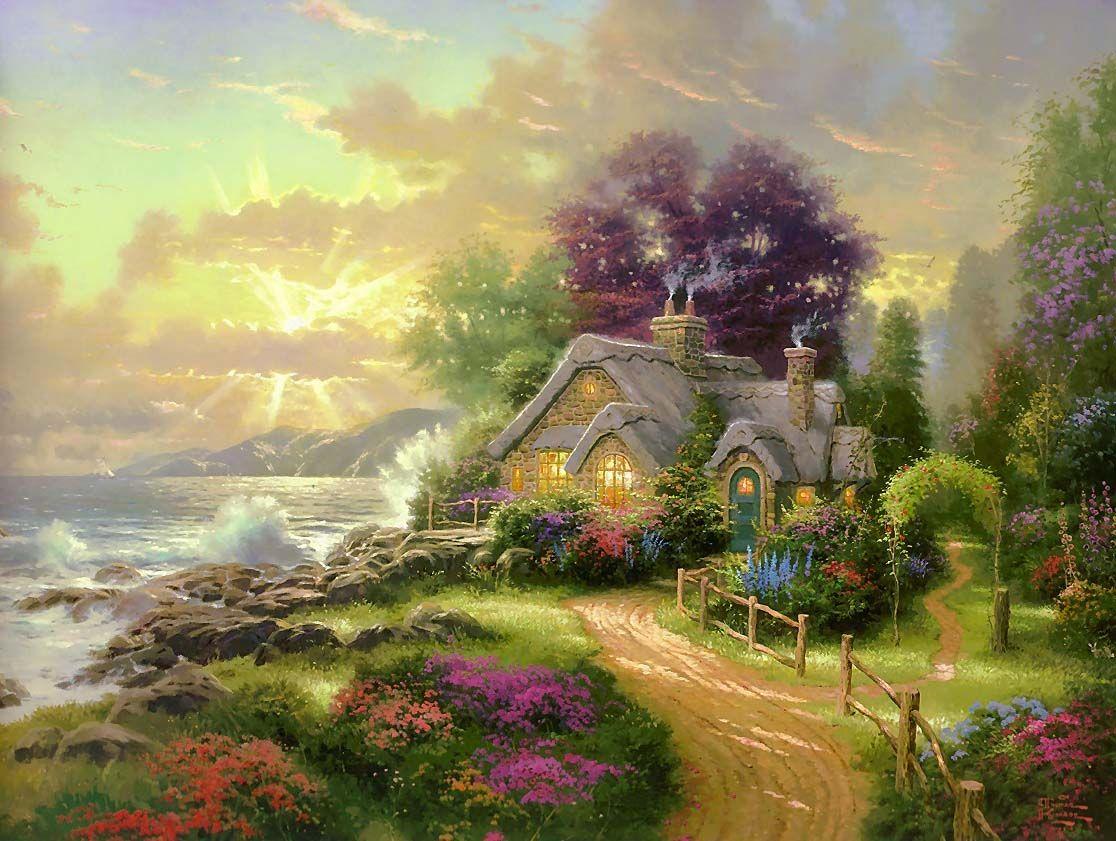 thomas kinkade thomas kinkade cottages a new day dawning thomas rh pinterest com