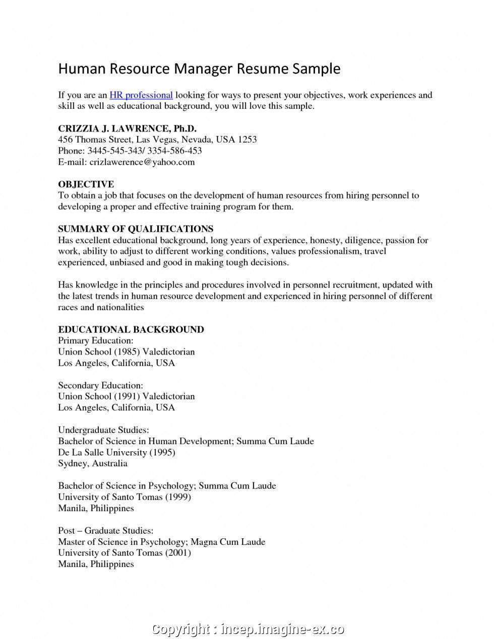human resources resume objectives medical laboratory cv sample contoh summary field objective for