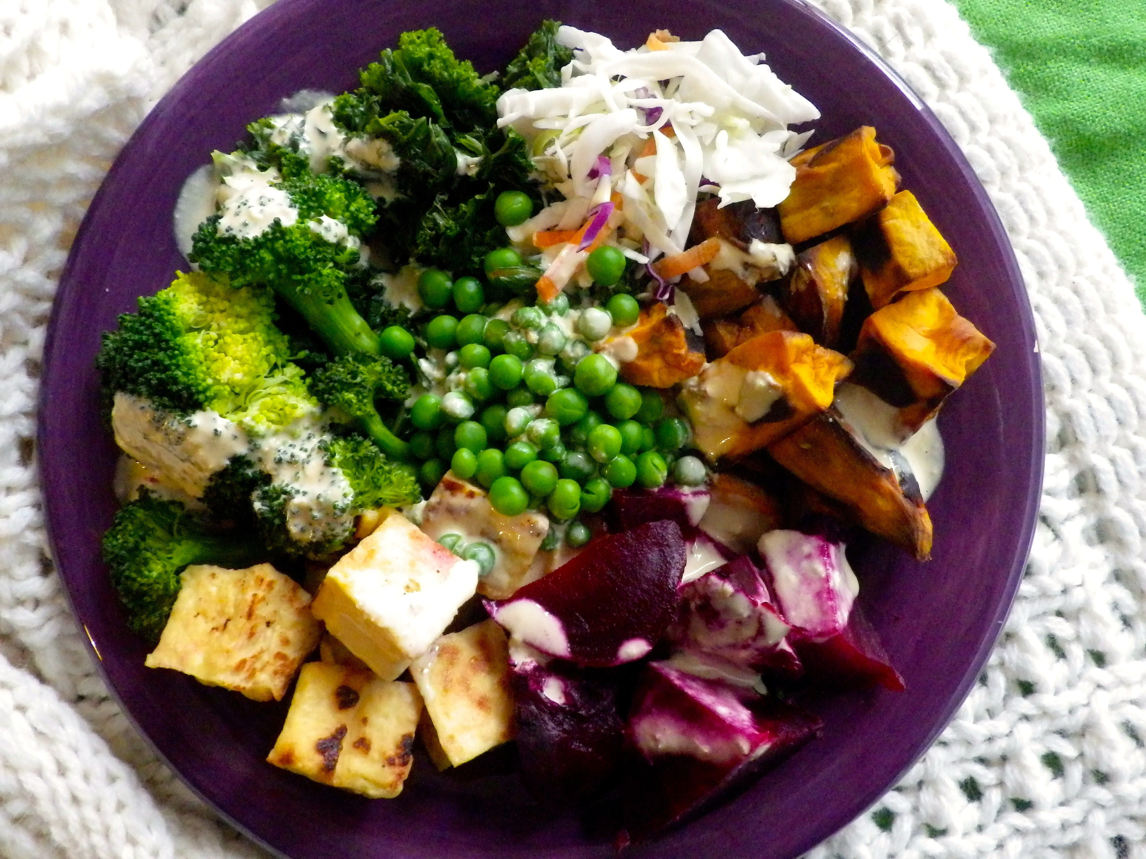 Tofu, Beet, Sweet Potato Salad Bowl with Tahini Lemon Dressing
