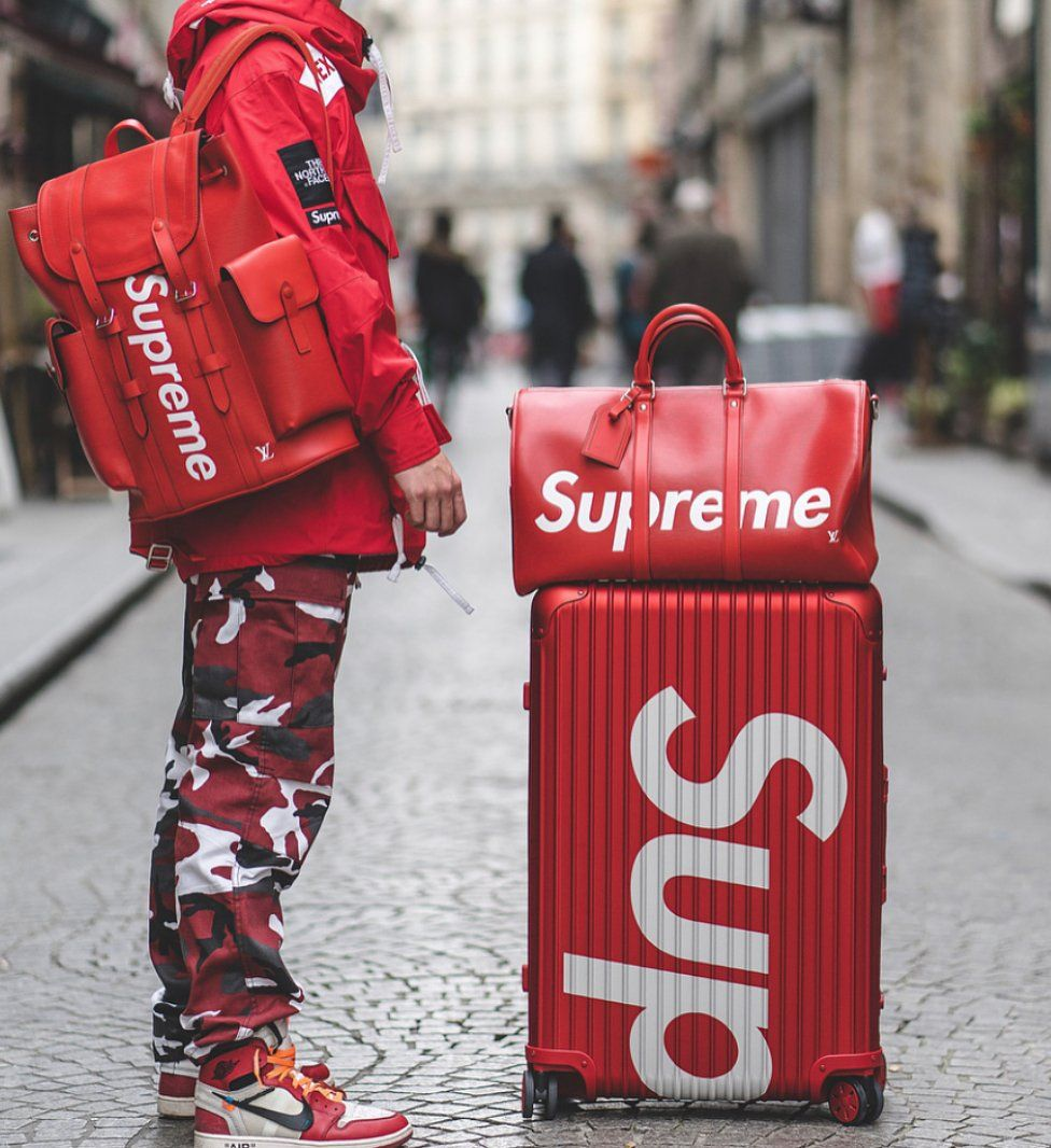 Supreme SUP Tote Shopping Bag Red Hipster