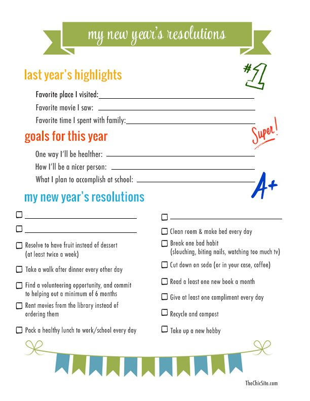 new years resolution template for kids parents