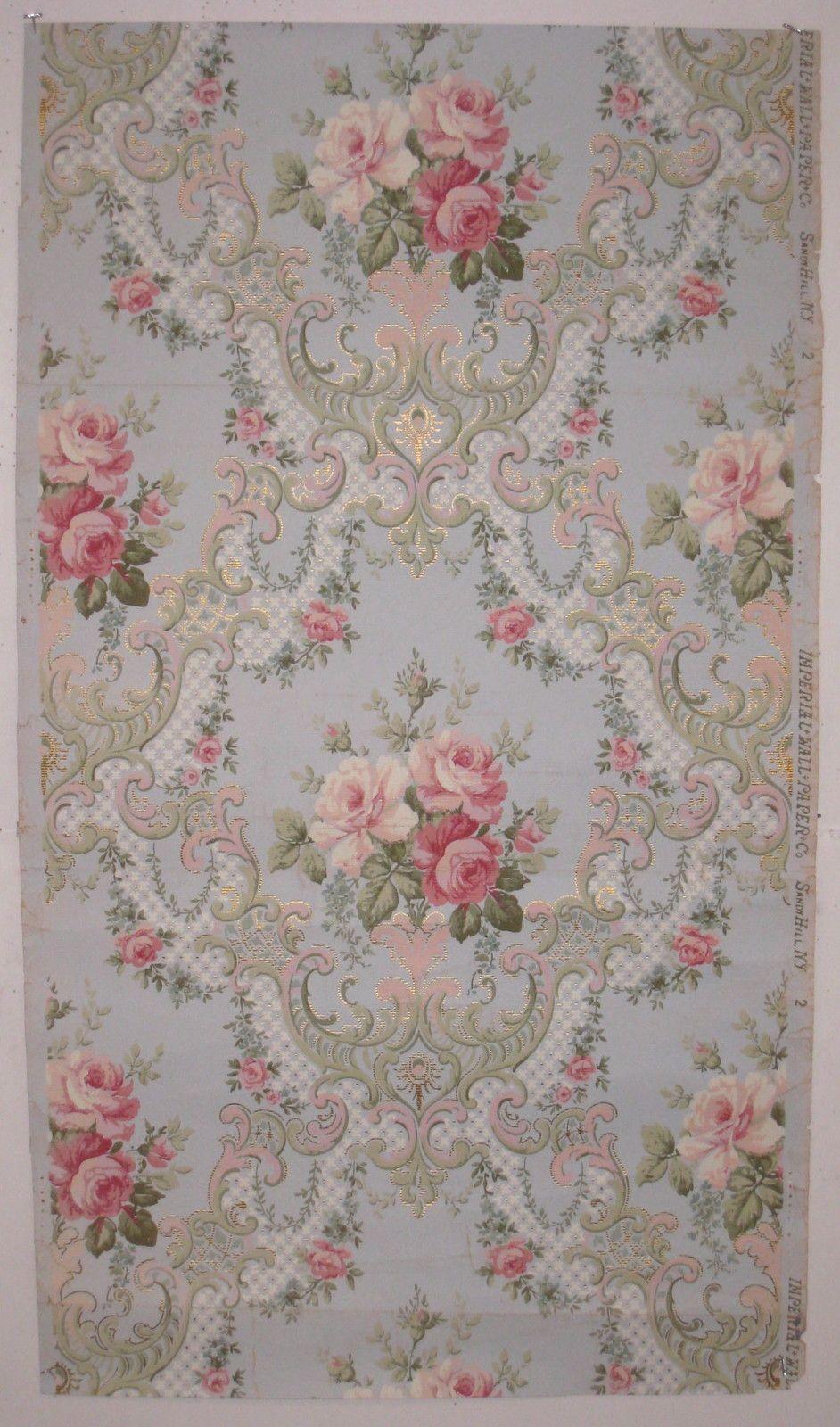 Beautiful Antique Century Furniture Dining Room Table And: Beautiful Antique 19th Century American Floral Wallpaper