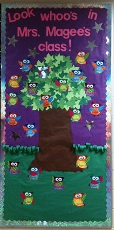 Back To School Owl Door Decoration Teaching Bulletin Board And