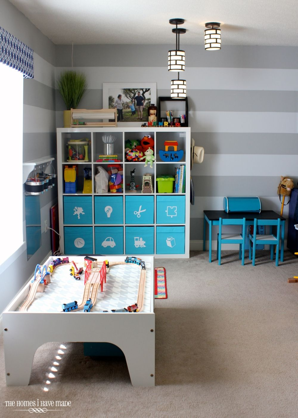 This organized and stylish playroom designu2014complete with