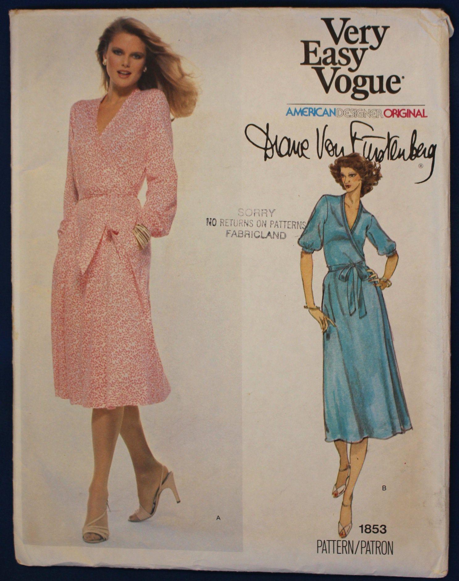 Diane Von Furstenberg Vogue 1853 American Designer Original Vintage Wrap Dress Sewing Patter In 2020 Wrap Dress Sewing Patterns Vintage Wrap Dress Vogue Patterns
