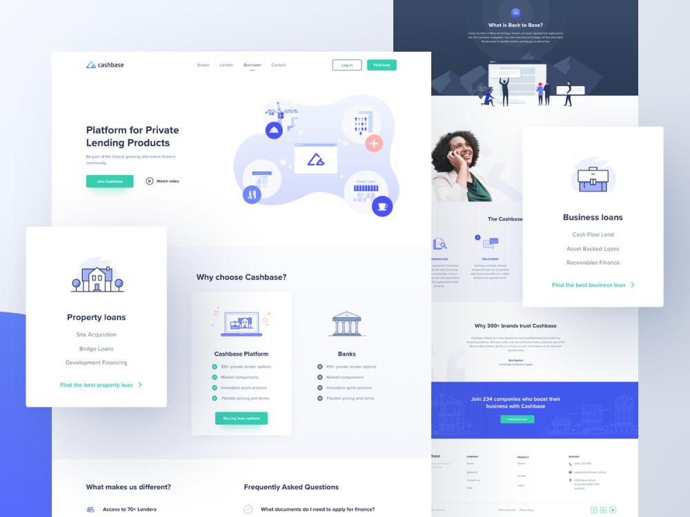Cashbase Subpages In 2020 Web Layout Design Web Design Website Design Inspiration