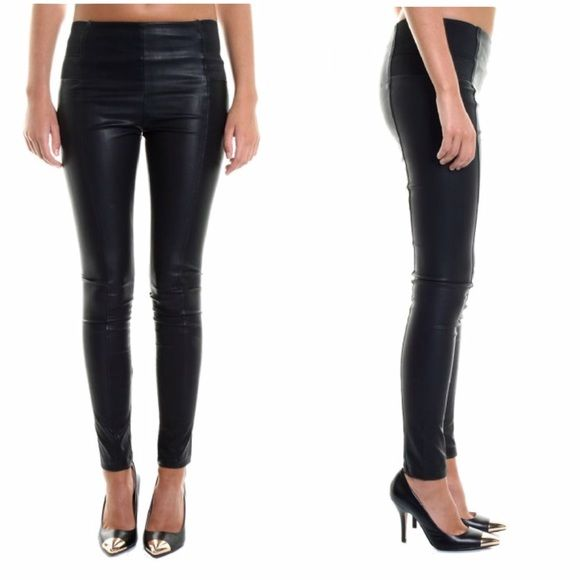 Glamorous Leather Look PU Paneled Leggings New with tags, never worn. Super stretchy faux leather. I'm a size 26 and could get them on but they're quite tight. Would probably better fit a 25 or smaller. Glamour Pants Leggings