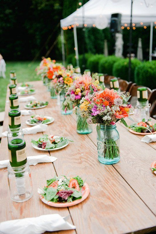 outdoor wedding reception decor long rectangle table with bright rh pinterest com
