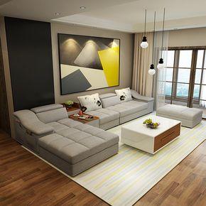 Mobília da sala de estar sofás de tecido em forma de L de canto ...