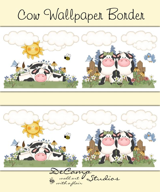 Dairy Cow Wallpaper Border Wall Decals Barnyard Stickers Decor - Barnyard nursery wall decals