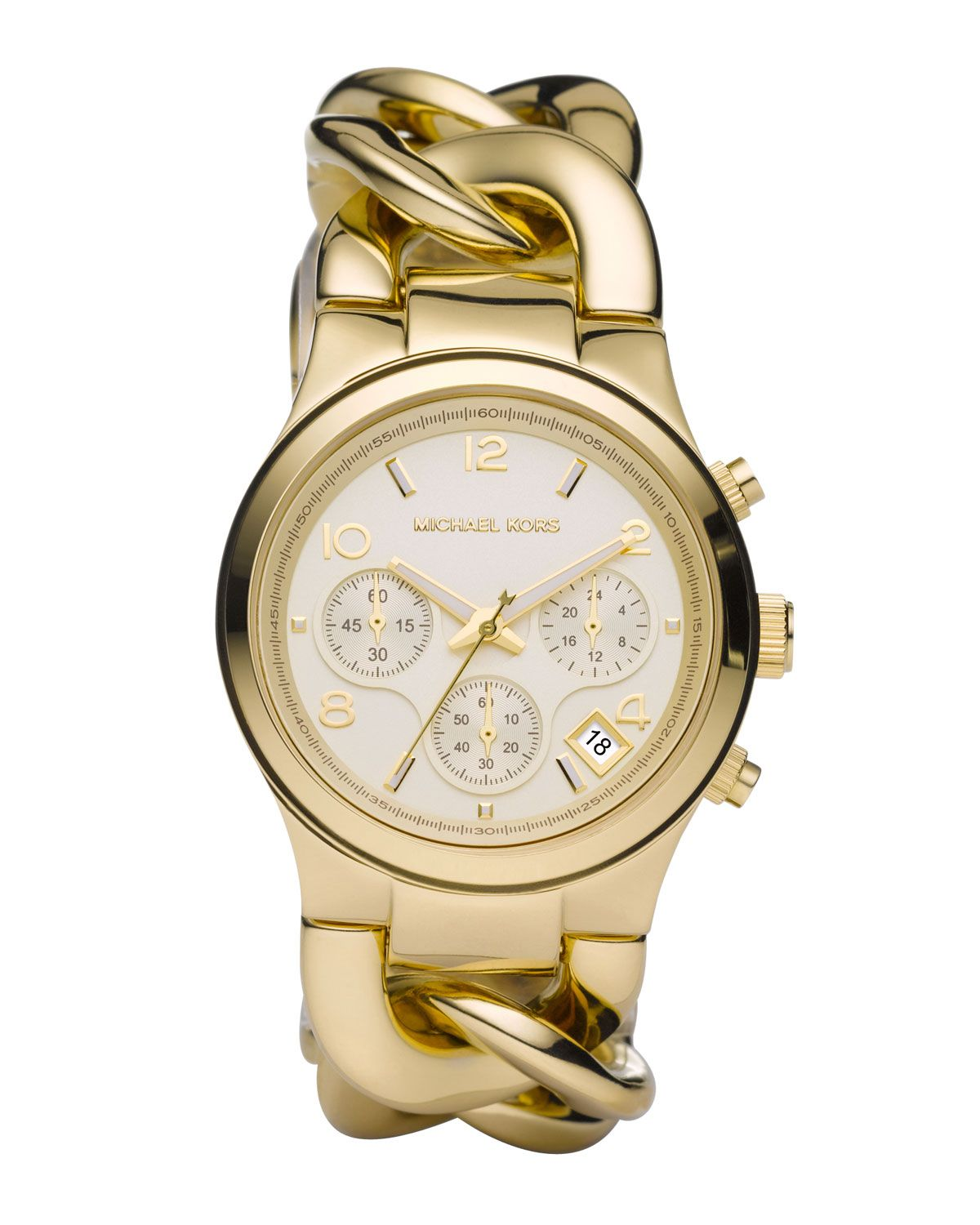 4a1e022cb107c A Michael Kors chronograph watch in gold tone stainless steel has a  polished look and a striking shine.
