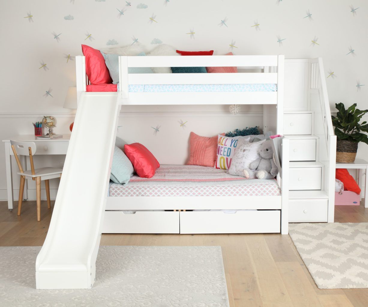 Best Maxtrix Twin Full Staircase Bunk Bed With Slide In 2020 400 x 300