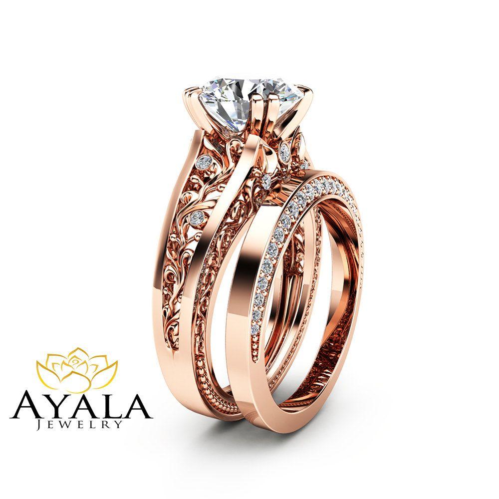 Rose gold moissanite engagement ring set unique carat moissanite