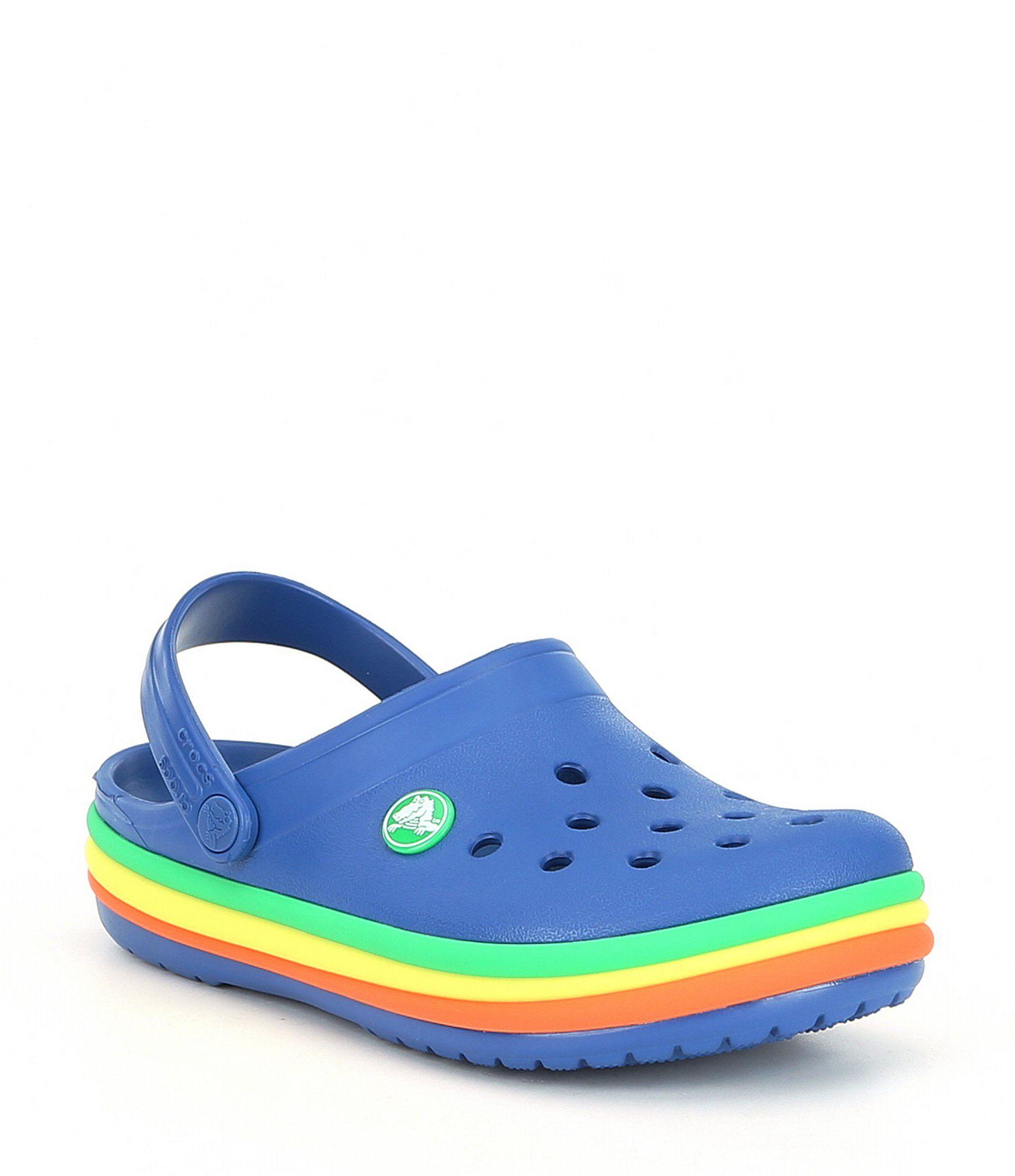 Blue Jeans CROCS Clogs Crocband Rainbow Band