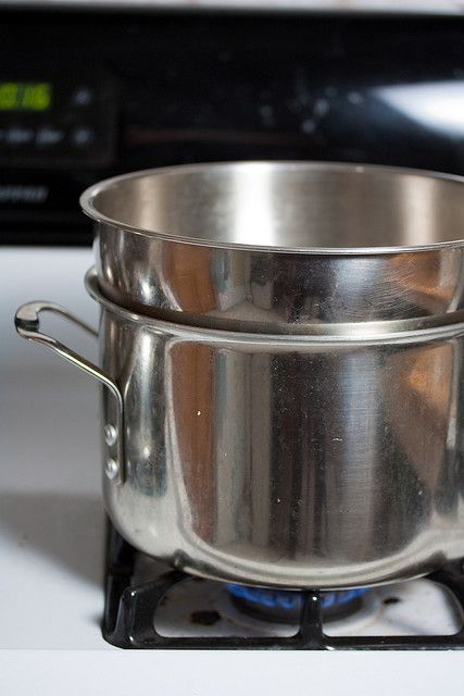 Double Boiler Using An 8 Quart Pot And A Mixing Bowl