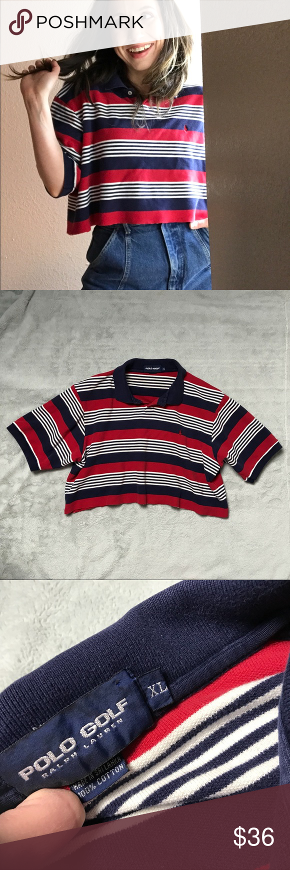 5a5b4af37d95 VTG Reworked Ralph Lauren Polo Striped Crop Top Excellent vintage  condition. Reworked crop top by