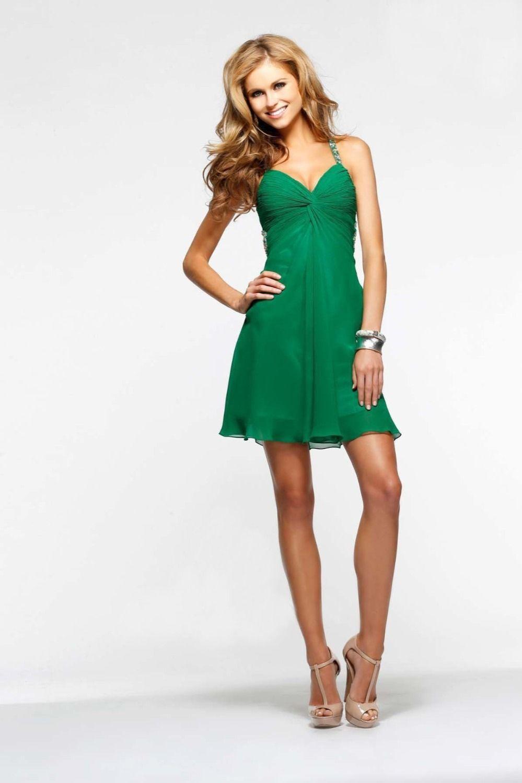 2014 Open-Back Green Faviana 7212 Beaded Short Chiffon Prom Dress