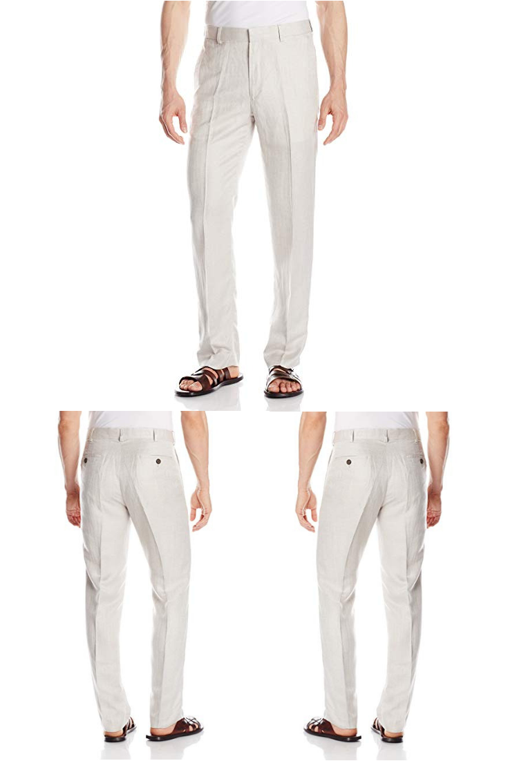 75b116c9 Cubavera Men's Linen-Blend Herringbone-Textured Flat-Front Dress Pant|men  black