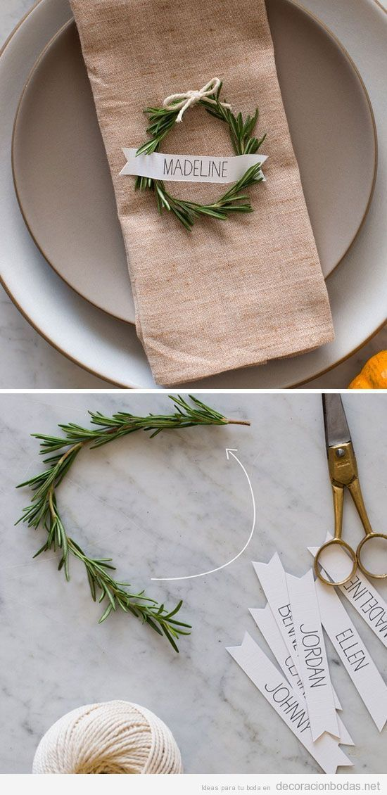 craft ideas for wedding place cards%0A A rosemary wreath place card for a winter wedding decoration  Un c  rculo de u
