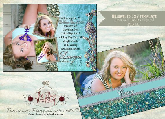 Vintage Bejeweled Senior Graduation Invitation Template Instant ...