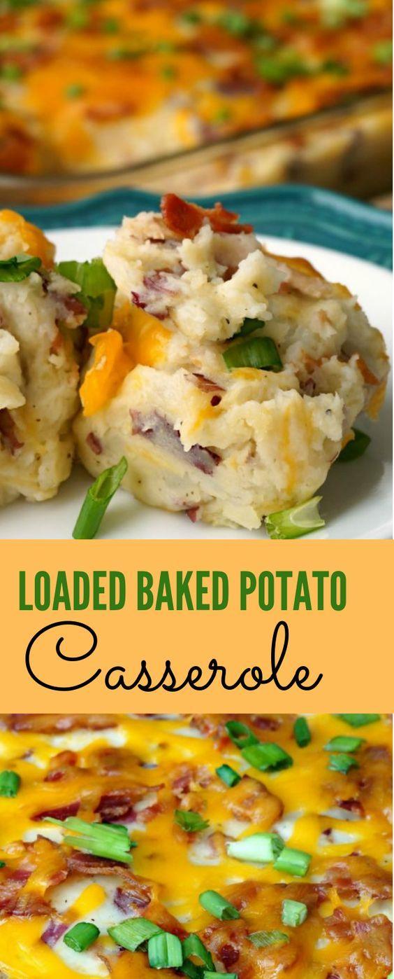 LOADED BAKED POTATO CASSEROLE RECIPE #potato #dinner images