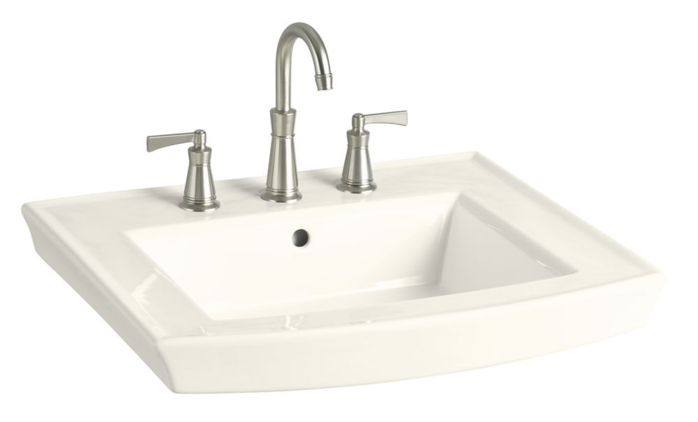 Archer Bathroom Sink Pedestal Basin With 8 Inch Centres In Biscuit
