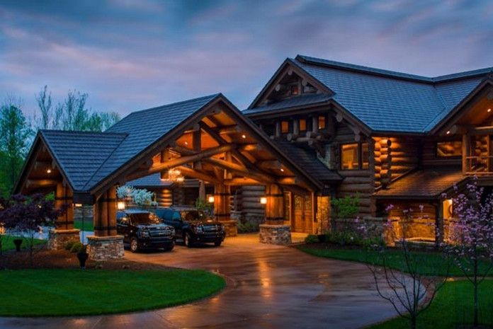 These Rustic Luxury Houses Are Stone And Wood Perfection 30 Photos Suburban Men Log Homes Dream House House Exterior