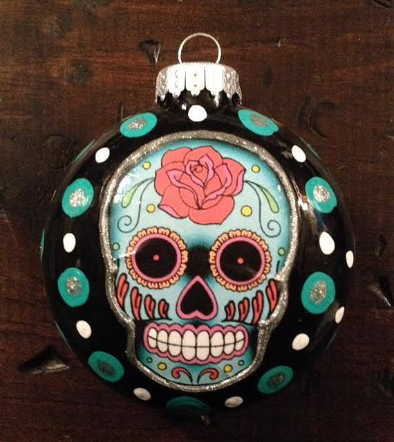 E. BARNES Day Of The Dead Sugar Skull 3 Black With Teal