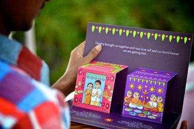 pop up wedding cards, funky wedding cards , kitsch wedding invitations , purple…