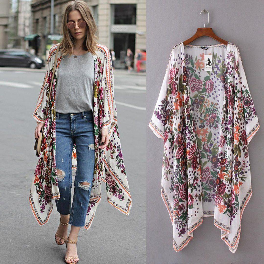 Trendy Women Flower Print Casual Kimono Cardigan Loose Long Chiffon Blouse Tops