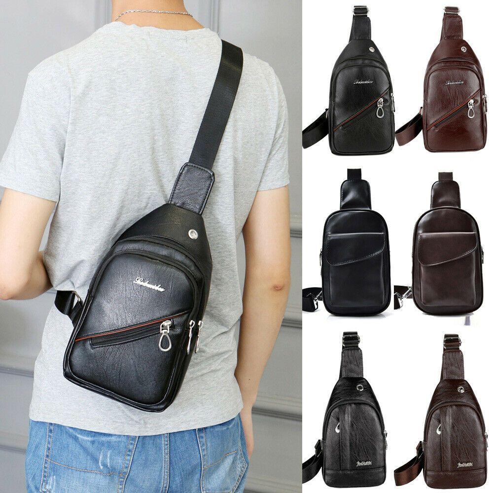 Men/'s Shoulder Bag Sling Chest Pack Leather USB Charging Sport Crossbody Handbag