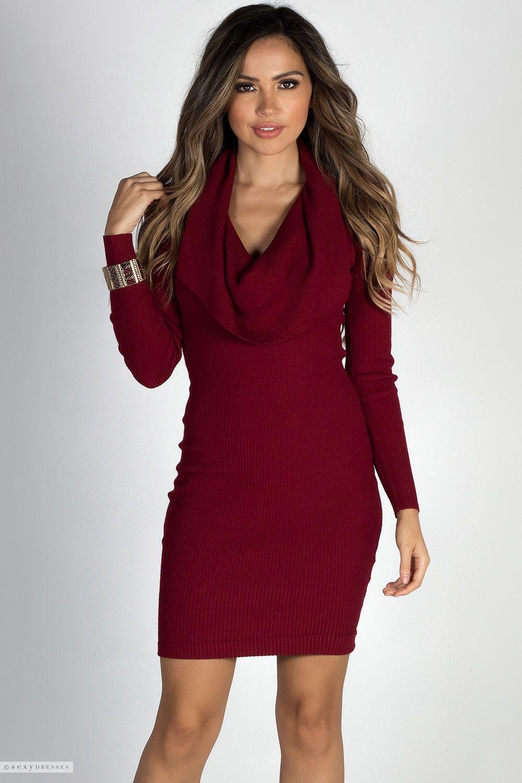 Long Sleeve Bodycon Burgundy Cowl Neck Sweater Dress | Cute Casual ...
