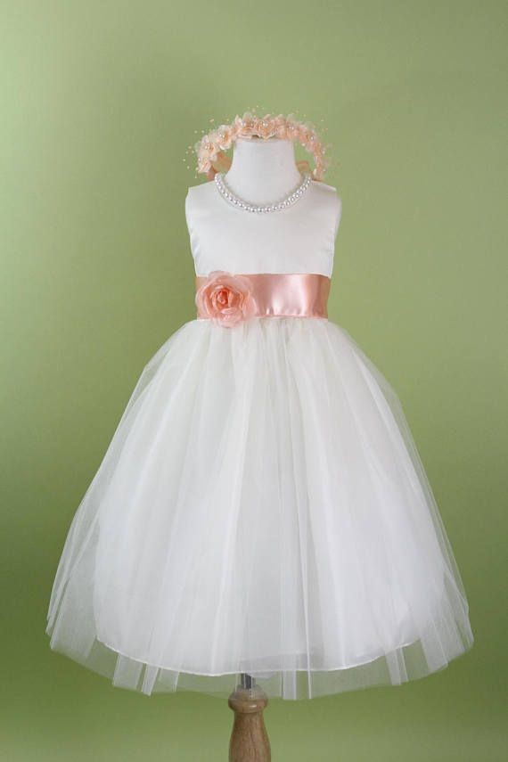 6dd9a1f5c0d8 Flower Girl Dress with Classic Tulle Skirt (Peach Sash and Flower) for  Baby, Toddler, Girls