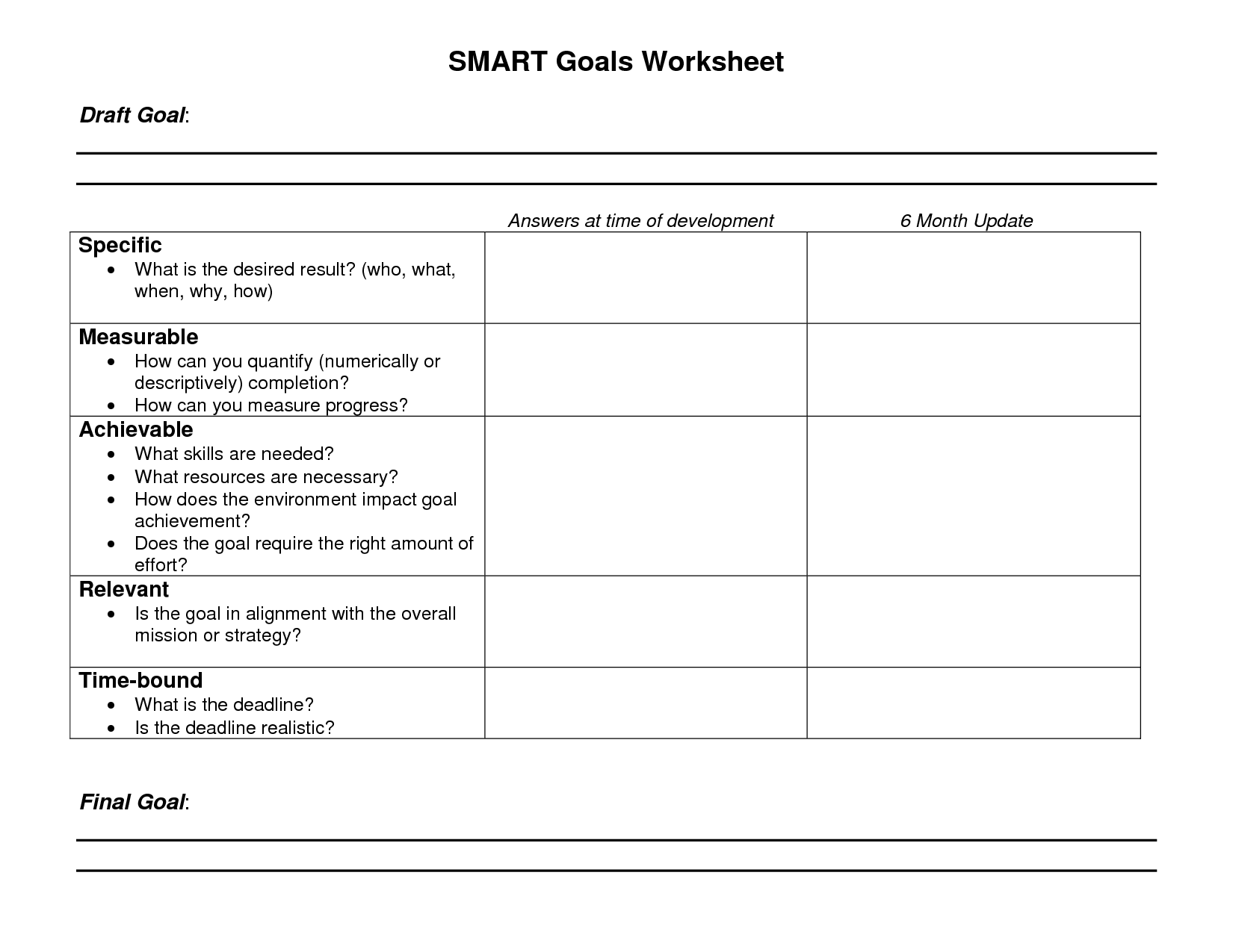 Smart Goals Worksheet Printable