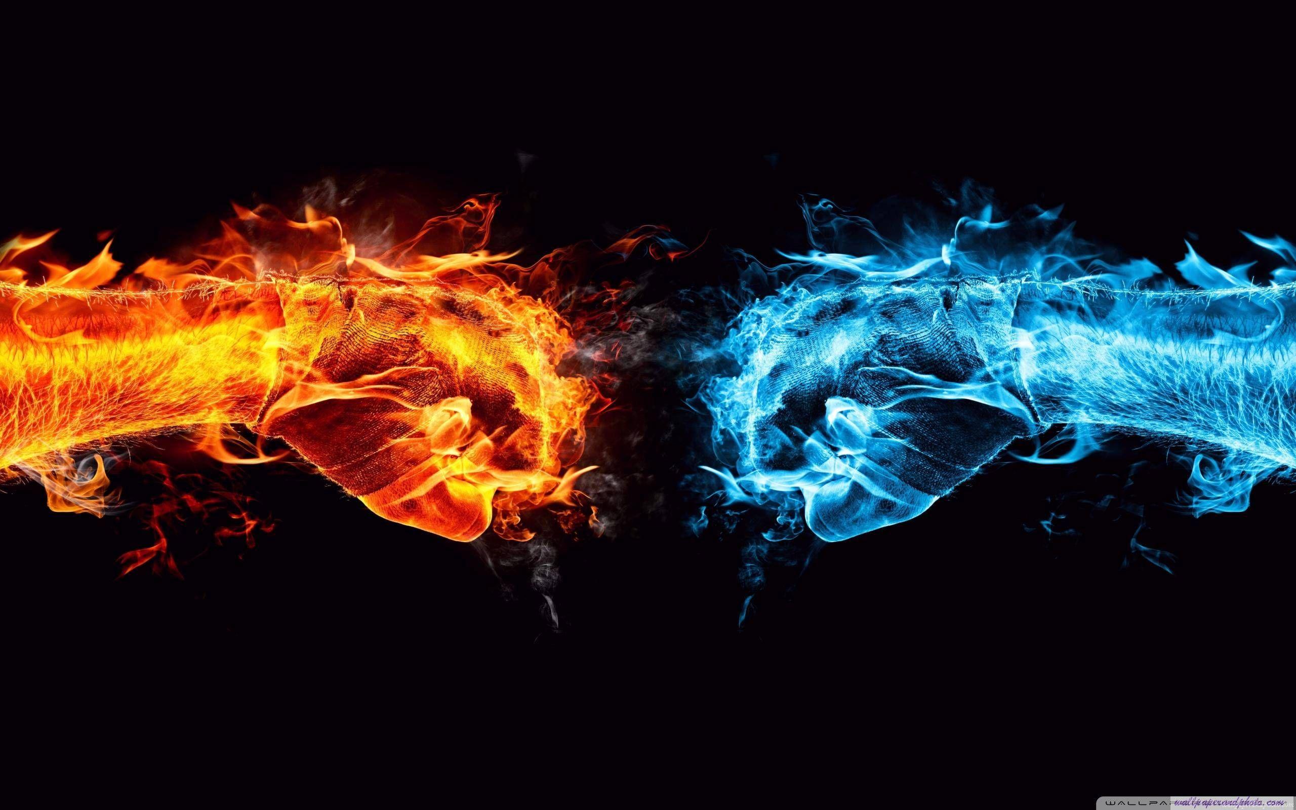 火の拳対水の拳hd 16:9 16:10デスクトップの壁紙 | vs | pinterest