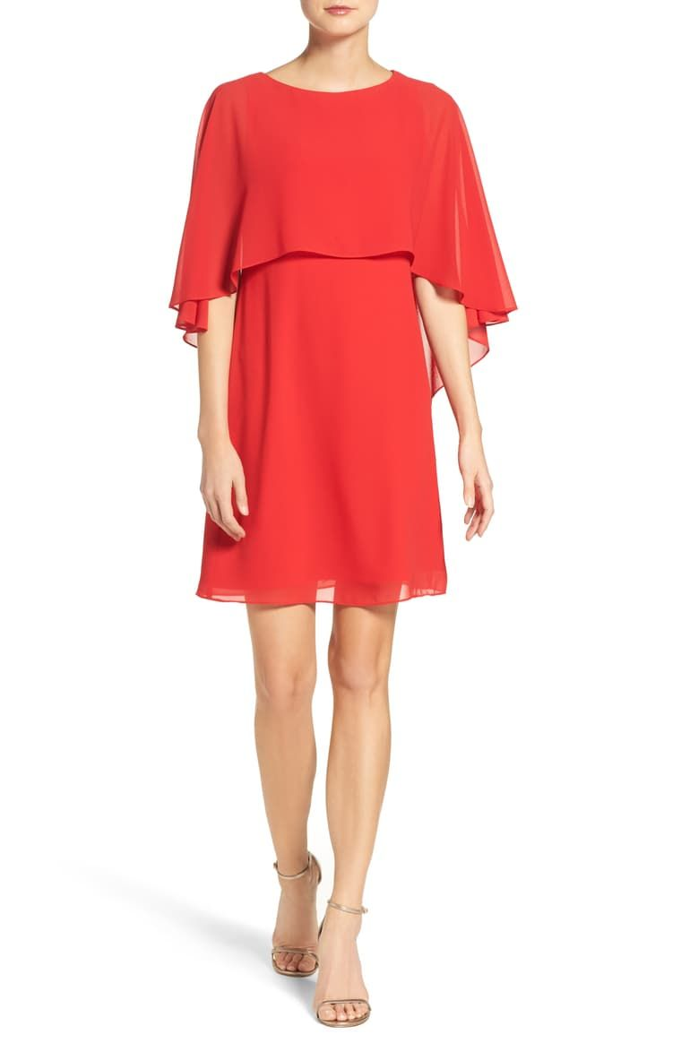 Vince Camuto Chiffon Cape Cocktail Dress Nordstrom Clothes Design Holiday Party Outfit Party Outfit [ 1164 x 760 Pixel ]