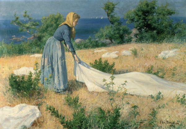 """""""Pyykinkuivatusta"""" (1892 or 1896?) Elin Danielson-Gambogi - Önningebyn taiteilijasiirtokunta toimi maisemamaalari Victor Westerholmin johdolla Jomalassa 1886-1914."""
